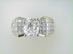 "3ct ""Cushion"" Cut diamond 18k Yellow Gold Mounting"