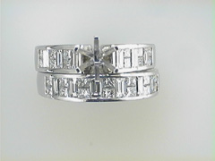 18k white gold Wedding Set Semi Mount
