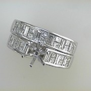 18k white gold Wedding Set Semi Mount3