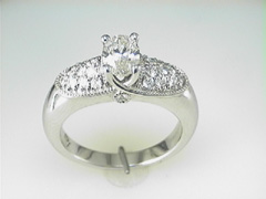 """Varna"" 18k Oval Diamond and Pave Ring"